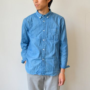 niuhans(ニュアンス) Natural Indigo Dye Oxford B/D Shirt -L.Indigo- #SH69