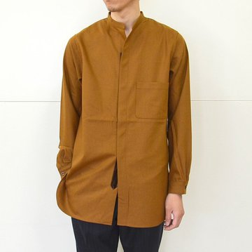 Honor gathering(オナーギャザリング) no collar robe shirt -monk brown- #16AW-S05