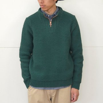 【40% off sale】FRANK LEDER(フランクリーダー)/ TROYER HAND KNITTEED WOOL PULLOVER -(48)GREEN- #0828098