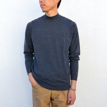 JOHN SMEDLEY(ジョン・スメドレー)/ HARCOURT PULLOVER MOCK TURTLE LS -CHARCOAL- #harcourt