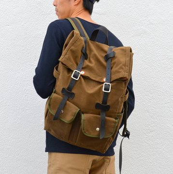 ARTS & CRAFTS(アーツ・アンド・クラフツ) WAXED CANVAS ROLL-TOP DAYPACK -SAND BROWN- #11017022200
