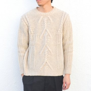【50% off sale】MAISON FLANEUR(メゾンフラネウール)/ Cable knit sweater -(B6)NATURAL- #15WMUMG020