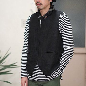 SUBTLE(サートル) Crew Neck Zip Up Vest Linen - Black #CRZIPVEST-LI-BK
