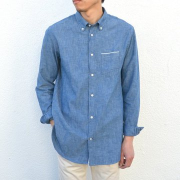 Officine Generale(オフィシンジェネラール)/ Button Down Japanese Chambray Selvedge -BLUE- #PERMSHI004