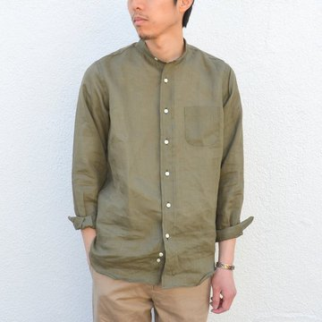 INDIVIDUALIZED SHIRTS(インディビジュアライズドシャツ)/ Linen/Stan Low Band Collar Shirt(Standard Fit)-KHAKI- #IS-71307