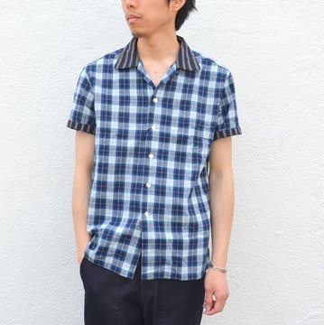 KENNETH FIELD (ケネスフィールド) SHORT SLEEVE OPEN COLLAR SHIRT PLAIDS WITH CLERIC -INDIGO- #17SS-30