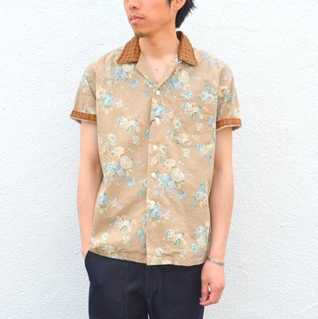 KENNETH FIELD (ケネスフィールド) SHORT SLEEVE OPEN COLLAR SHIRT FLOWER WITH CLERIC -BEIGE- #17SS-30 【H】