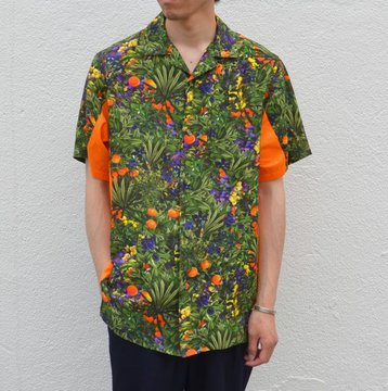 【30% off sale】  White Mountaineering(ホワイトマウンテニアリング) TROPICAL PATTERN PRINTED OPEN COLLAR SHORT SLEEVES SHIRT -GREEN- #WM1771112