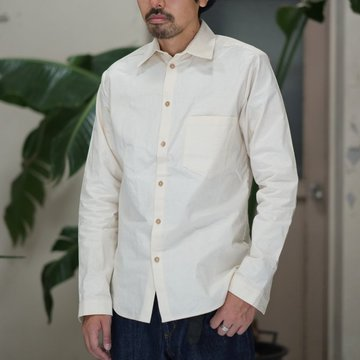FRANK LEDER(フランクリーダー) VINTAGE BED LINEN COTTON SHIRT -(80)NATURAL WHITE-