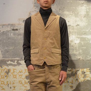 【40% OFF SALE】 ts(s) (ティーエスエス) Thin Wale Stretch Corduroy Cloth Padded Suit Vest -(59)Khaki- #ST37IV01