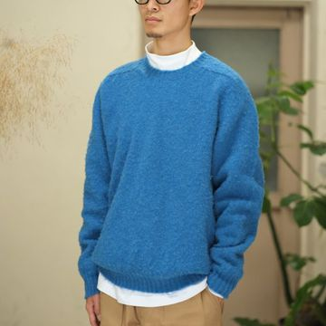 South2 West8(サウスツーウエストエイト)  Relax Fit Shaggy Dog Crew Sweater -Royal- #BG837