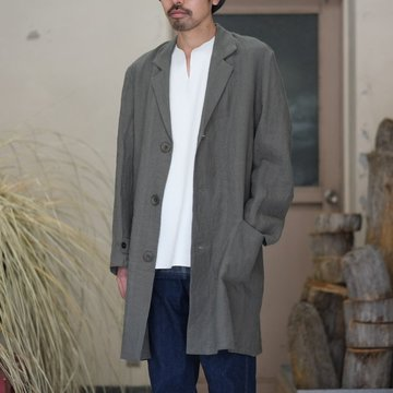 【40% off SALE】FRANK LEDER(フランク リーダー) BELGIAN LINEN COAT -GRAY-  #0211029