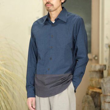【30% off SALE】【2018 SS】FRANK LEDER(フランク リーダー) TRIPLE WASHED THIN COTTON 2 COLOR SHIRT -BLUE/NAVY-  #0216018