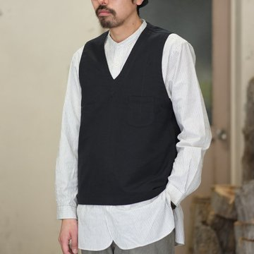 【2018 SS】FRANK LEDER(フランク リーダー)  FUNDAMENT COTTON  / LINEN VESTOVA -BLACK-  #0217077