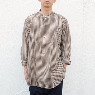 【18 SS】 AURALEE(オーラリー)/ SUPER LIGHT CHECK BIG PULLOVER -BROWN GINGHAM CHECK- A8SS01GC