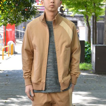 【40% OFF SALE】 ts(s) (ティーエスエス) Smooth Cotton Terry Jersey Asymmetry Line Track Jacket -(32)Light Beige- #ET38XC09