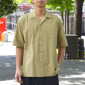 【30% OFF SALE】MARKAWARE (マーカウェア)/ OPEN COLLAR SHIRTS S/S -OLIVE GRAY-
