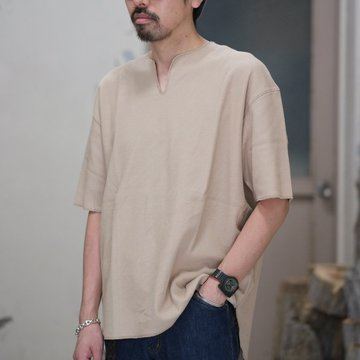 blurhms(ブラームス) / Rough&Smooth Thermal Loose Fit Over Neck  -Beige-  BHS-RKSS17018