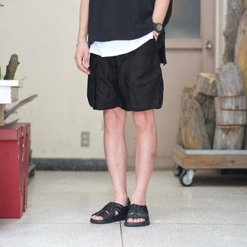 blurhms(ブラームス) / Cupro Cotton 6P Wide Shorts  -BLACK- BHS-18SS011