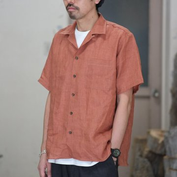 INDIVIDUALIZED SHIRTS(インディビジュアライズドシャツ)/ Linen Camp Collar Shirt S/S (AthleticFit) -RUST- #IS1812113