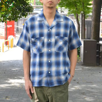【40% OFF SALE】ohh!nisica(オオニシカ)/ オープンカラーシャツ -BLUE CHECK- #ONI-074