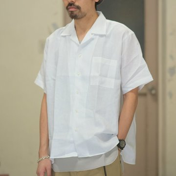 INDIVIDUALIZED SHIRTS(インディビジュアライズドシャツ)/ Linen Camp Collar Shirt S/S (AthleticFit) -WHITE- #IS1812110