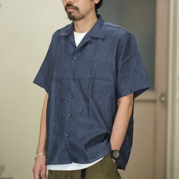 INDIVIDUALIZED SHIRTS(インディビジュアライズドシャツ)/ Linen Camp Collar Shirt S/S (AthleticFit) -INDIGO- #IS1812111