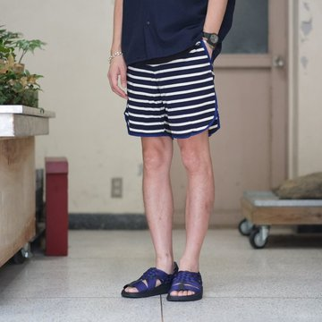 KENNETH FIELD (ケネスフィールド)  TRACK & FIELDSHORTS -HORIZONTAL STRIPED NAVY/WHITE- #18SS-34