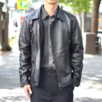 【2018 AW】 FRANK LEDER(フランクリーダー) | ARCHIVE EDITION COW LEATHER BIKE JACKET + SPADE -(99)BLACK- #0422065-99