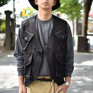 【30% OFF SALE】 MONITALY(モニタリー)/ MILITARY VEST TYPE-C -VANCLOTH SATEEN BLACK- #M24101