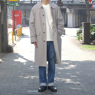 【19 SS】 AURALEE(オーラリー)/ FINX WEATHER CLOTH CHECK COAT-IVORY CHECK #A9SC01WC