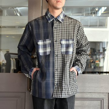 【19SS】 FRANK LEDER(フランクリーダー)  MIXED MATERIAL CHECKERED SHIRT JACKET