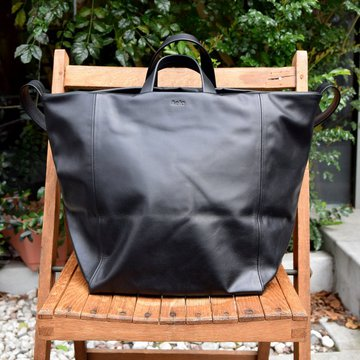 Aeta (アエタ) COW KIP LEATHER SHOULDER TOTE-BLACK-#LE15
