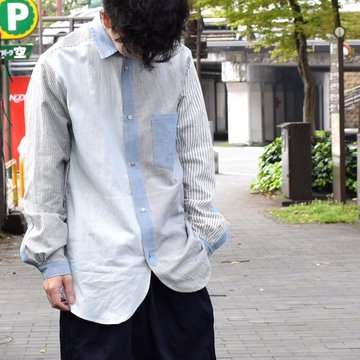 【30% off sale 】FRANK LEDER(フランクリーダー) STRIPES POCKET MIXED OLDSTYE SHIRT #0616083-32M