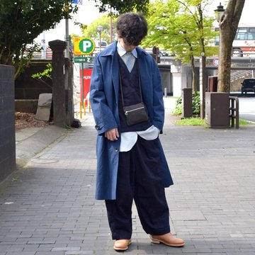 【2019 SS】 FRANK LEDER(フランクリーダー) ARCHIVE EDITION SOUTIEN COLLAR COAT -(39)NAVY- #0611001-39