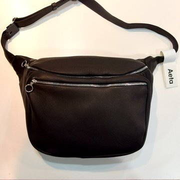 Aeta (アエタ) DEER LEATHER WAIST POUCH M -BLACK-#DA12