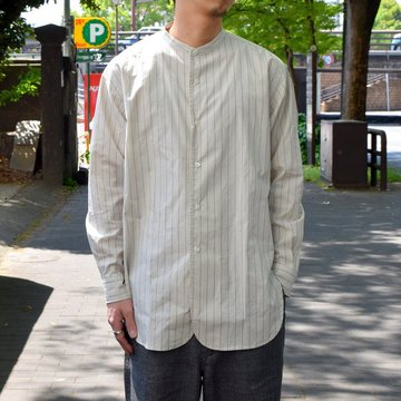 un unbient /STAND-COLLAR SHIRT-WHITE STRIPE-#UNSSH1819-1