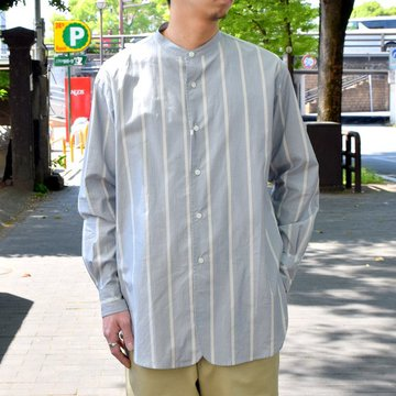 【30% off sale 】un unbient /STAND-COLLAR SHIRT-BLUE STRIPE-#UNSSH1819-1