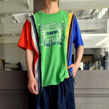 REBUILD BY NEEDLES  (リビルドバイニードルス) 7 cut wide tee-college- green EJ291