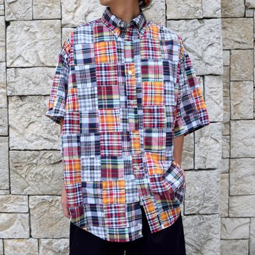 is-ness(イズネス)/ PATCHWORK CHECK SHORT SLEEVES SHIRT -RED CHECK-