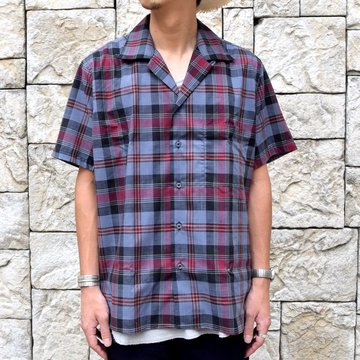 INDIVIDUALIZED SHIRTS(インディビジュアライズドシャツ)/ Linen Camp Collar Shirt S/S (AthleticFit) -GRAY CHECK-#IS1911200