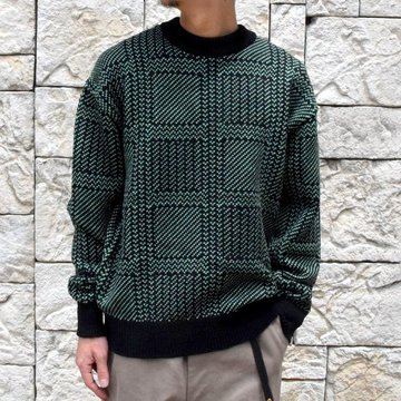 【2019 AW】AURALEE(オーラリー) / HARD TWIST MERINO JACQUARD KNIT BIG P/O-BLACK×GREEN- #A9AP01FJ