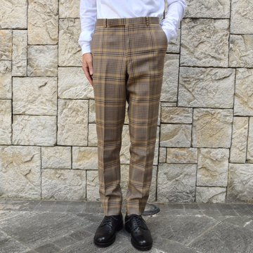 【2019 AW】 AURALEE(オーラリー)/ WOOL SERGE CHECK NARROW SLACKS A9AP03SC