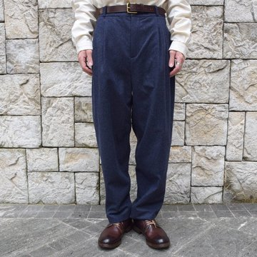 FRANK LEDER(フランクリーダー) /LODEN WOOL 2 TUCK TROUSERS -NAVY- #0723028