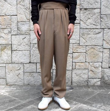 【2019 AW】NEAT(ニート)/ WOOL HIGHT DENSITY GABARDINE BELTLESS -CAMEL-#19-02WGB