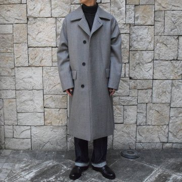 【19 AW】 AURALEE(オーラリー)/DOUBLE FACE CHECK SOUTIEN COLLAR COAT #A9AC01BN-BL