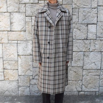 【19 AW】 AURALEE(オーラリー)/DOUBLE FACE CHECK SOUTIEN COLLAR COAT #A9AC01BN-BR