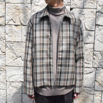 【19 AW】 AURALEE(オーラリー)/DOUBLE FACE CHECK ZIP BLOUSON -BROWN CHECK-#A9AB02BN-BR