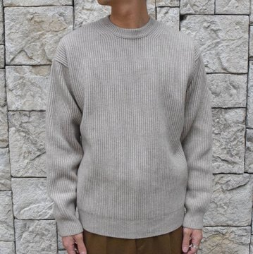 【19 AW】 AURALEE(オーラリー)/CASHMERE WOOL RIB KNIT BIG P/O-NATURAL GRAY- #A9AP01CW
