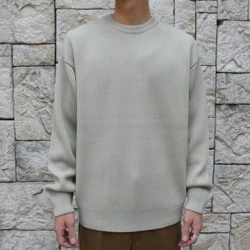 【30%OFF SALE】【2019 AW】 AURALEE(オーラリー)/SUPER FINE WOOL RIB KNIT BIG P/O -PALE GREEN- #A9AP01RK